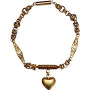 Antique Georgian 15 Carat Gold Heart Bracelet Circa 1830