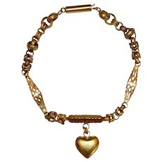 Antique Georgian 15 Carat Gold Heart Bracelet Circa 1830