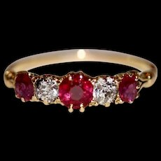 Antique Victorian 18 Carat Gold Natural Burmese Ruby And Diamond Stacking Engagement Ring