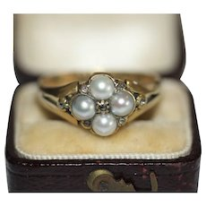 Antique Georgian 18 Carat Mourning Natural Pearl And Diamond Ring With Locket Back Dated 1835