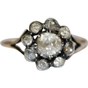 Antique Georgian 18 Carat Gold Rose Cut Diamond Cluster Ring Circa 1780