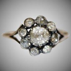 Antique Georgian 18 Carat Gold Rose Cut Diamond Cluster Ring Circa 1780