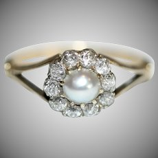 Antique Victorian 18 Carat Gold Pearl And Diamond Cluster Ring Circa 1880