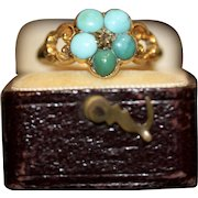 Antique Victorian 15 Carat Turquoise And Diamond Forget-Me-Not Ring Circa 1870