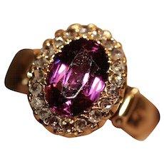 Antique Victorian 18 Carat Gold Almadine Garnet And Diamond Ring Dated 1894