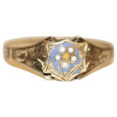 Antique Victorian 9 Carat Gold Daisy Enamelled Keepsake Ring