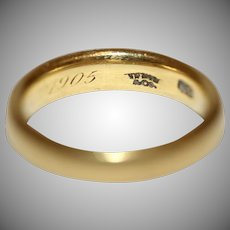Antique Tiffany & Co 22 Carat Gold Heavy Wedding Band Dated 1905 Signed