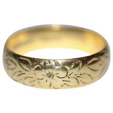 Vintage 22 Carat Gold Engraved Wedding Band Stacking Ring Dated 1972