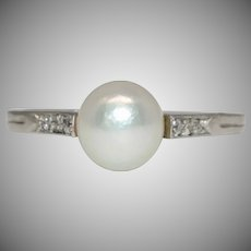 A Fine Antique Edwardian Platinum Natural Pearl Diamond Engagement Ring