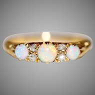 Antique Victorian 18 Carat Gold Opal Diamond Half Hoop Stacking Ring Circa 1890