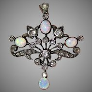 Antique Victorian 15 Carat Gold Opal Diamond Pendant Necklace Circa 1890