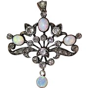 Antique Victorian 15 Carat Gold Opal Diamond Pendant Necklace Circa 1890