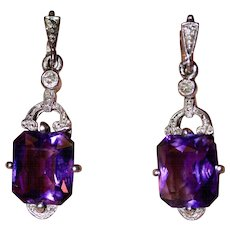 Art Deco 14 Carat Gold Amethyst Diamond Earrings Circa 1930