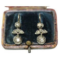 Antique Austrian Vienna 18 Carat Gold Rose Cut Diamond Earrings Circa 1880