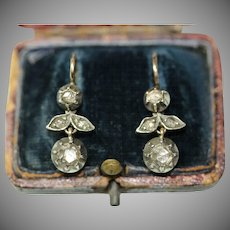 Antique Austrian Vienna 18 Carat Gold Rose Cut Diamond Earrings Circa 1880