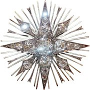 Fabulous Antique Victorian 18 Carat Gold Diamond Star Burst Brooch ca 1880