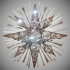 Fabulous Antique Victorian 18 Carat Gold Diamond Star Burst Brooch ca 1880