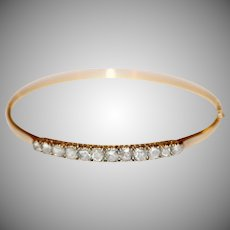 Antique Dutch 14 Carat Gold Rose Cut Diamond Bracelet Bangle Circe 1910