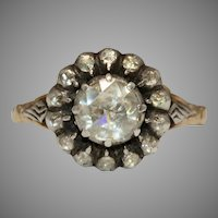 Antique Dutch 14 Carat Rose Cut Diamond Cluster Ring