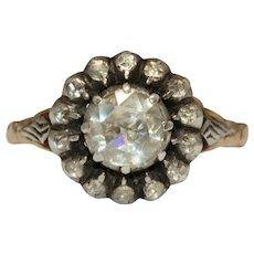 Antique Dutch Victorian Era 14 Carat Rose Cut Diamond Cluster Ring