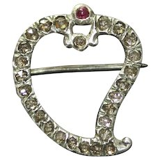 Antique Georgian Diamond Ruby Witch's Heart Brooch Pin Circa 1780