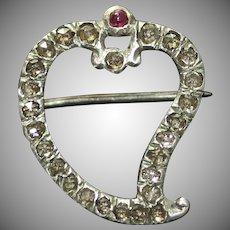 Antique Georgian Diamond Ruby Witch's Heart Brooch Pin Circa 1780