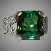Amazing 1940's Green Tourmaline Diamond 18 Carat Gold Ring