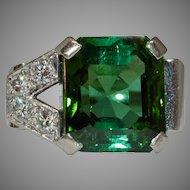 Amazing 1940's Green Tourmaline Diamond 18 Carat Gold Ring