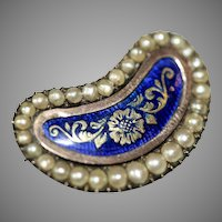 Antique Georgian Lucky Bean Blue Enamel Pearl Brooch Pin With Memorial Inscription