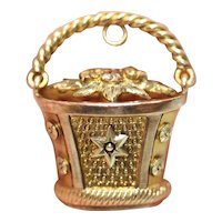Antique Georgian Flower Basket Charm Pendant Circa 1820