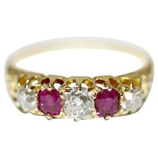 Antique Victorian 18 Carat Natural Ruby Diamond Ring Circa 1890