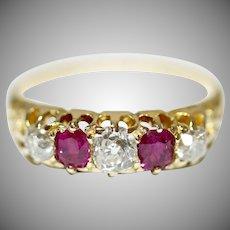 Antique Victorian 18 Carat Natural Ruby Diamond Ring Circa 1890