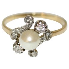 Art Nouveau 18 Carat Natural Pearl Diamond Ring Circa 1900