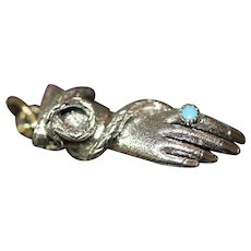 Antique Georgian Hand Snake Turquoise Charm Pendant Circa 1820