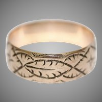 Antique 9 Carat Rose Gold Engraved Wedding Band Stacking Ring Dated 1918
