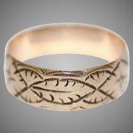 Antique 9 Carat Rose Gold Engraved Wedding Band Stacking Ring Dated 1918