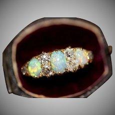 Antique Victorian Opal Diamond Half Hoop Stacking Ring 18 Carat Gold Circa 1890