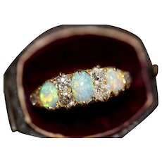 Antique Victorian Opal Diamond Half Hoop Stacking Ring 18 Carat Gold Circa 1890