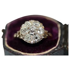 Antique Victorian 18 Carat Diamond Cluster Ring Circa 1890