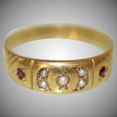 Antique Victorian 15 Carat Gold Chester Ruby Pearl Gypsy Band Wedding Ring Dated 1885