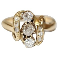 Antique Art Nouveau 18 Carat Gold Diamond Ring Circa 1900