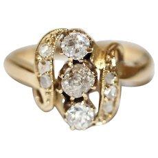 Antique Art Nouveau 18 Carat Gold Diamond Ring Circa 1900