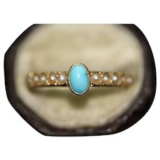 Antique Victorian 18 Carat Natural Turquoise And Split Pearl Band Stacking Ring Circa 1900