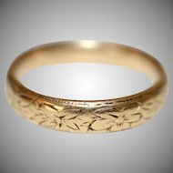 Art Deco 22 Carat Gold Engraved Wedding Band Ring Dated 1923