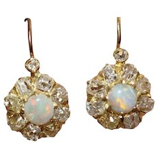 Victorian Opal Diamond Cluster Earrings Circa 1890