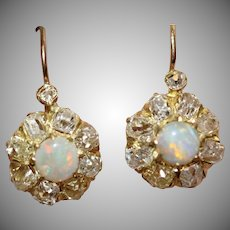 Antique Victorian Opal Diamond Cluster Earrings Circa 1890
