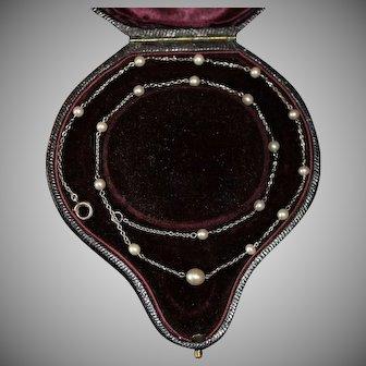 Antique Edwardian Certified Natural Saltwater Pearl Platinum Necklace Circa 1910