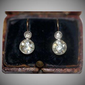 STUNNING Antique Rose Diamond Dormeuse Earrings Est 2.3 Carat
