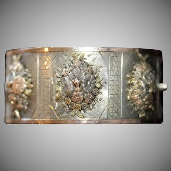 Exceptional Antique Victorian Silver Gold Inlay Cuff Bracelet Bangle Dated 1882