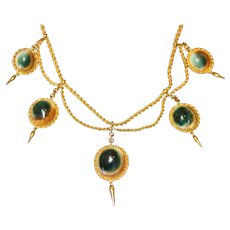 Rare Antique Victorian Operculum 15 Carat Gold Etruscan Revival Necklace
